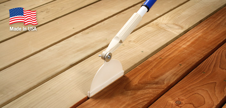 Any Angle Crack & Groove Tool applies stain between deck boards