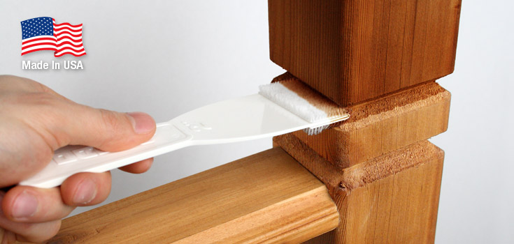 2 Inch Crack & Groove Tool applies stain to railings