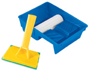PadBRUSH Painting Set includes a 6 inch PadBRUSH and a Tray with Paint Transfer Wheel