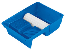 Blue paint pad tray with 6 1/2 inch transfer wheel