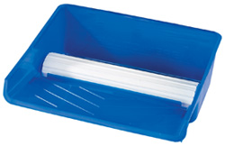 Blue paint pad tray with 10 inch transfer wheel
