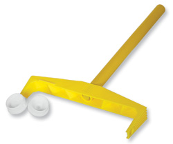 Yellow Yoke Roller Frame with wood handle and plastic end caps