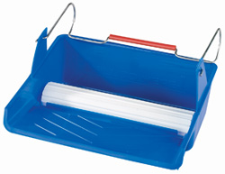 Blue paint pad tray with 10 inch transfer wheel and wire handle
