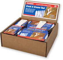 Crack and Groove Tools in a counter display box