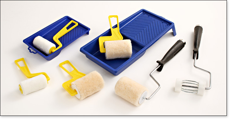3 inch rollers with a variety of handle lengths and tray combinations